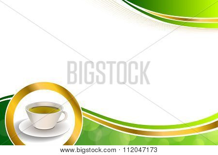 Background abstract drink green tea cup gold circle frame illustration vector
