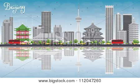 Beijing Skyline with Gray Buildings, Blue Sky and Reflections. Vector Illustration. Business travel and tourism concept with copy space. Image for presentation, banner, placard and web site.