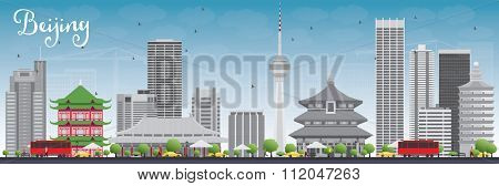 Beijing Skyline with Gray Buildings and Blue Sky. Vector Illustration. Business travel and tourism concept with historic buildings. Image for presentation, banner, placard and web site.