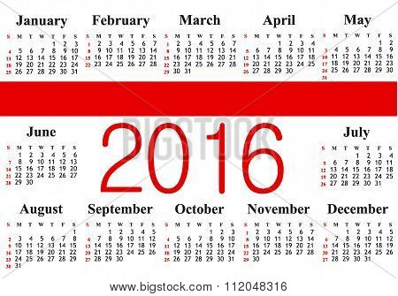 Pocket calendar 2016