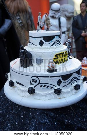 LOS ANGELES - DEC 17:  Star Wars themed Wedding Cake at the Australian Star Wars fans get married in a Star Wars-themed wedding at the TCL Chinese Theater on December 17, 2015 in Los Angeles, CA