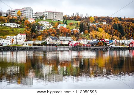 Akureyri In Autumn Of Iceland