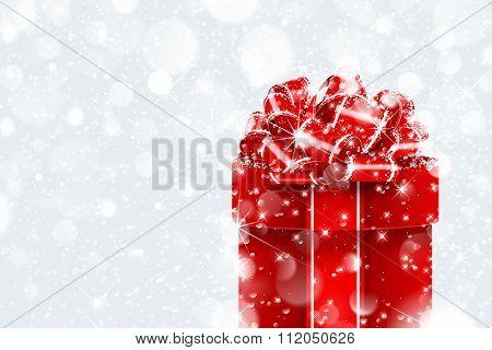 Christmas gift in snow on bokeh background. Vector illustration