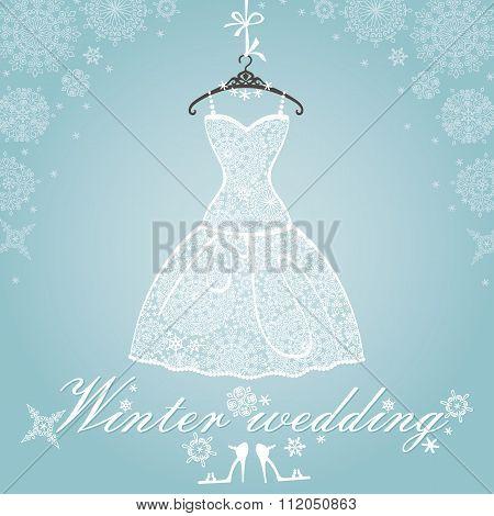Bridal dress.Wedding snowflake winter lace