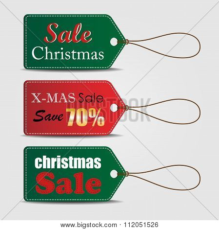 Set of Christmas sale tag, can use for your business or promotion. Vector illustration.