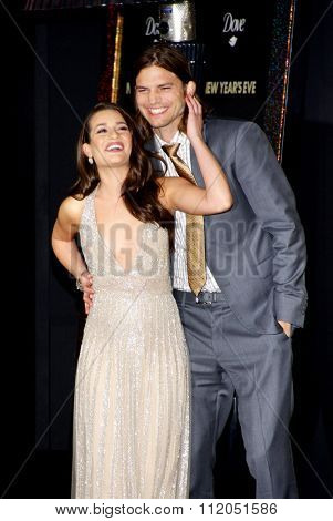 Lea Michele and Ashton Kutcher at the Los Angeles Premiere of