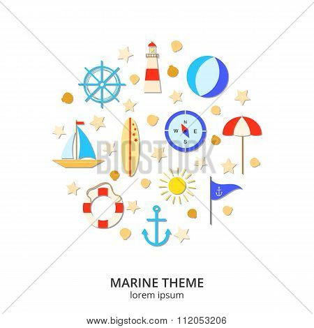 Flat summer and marine icons composed in circle shape.