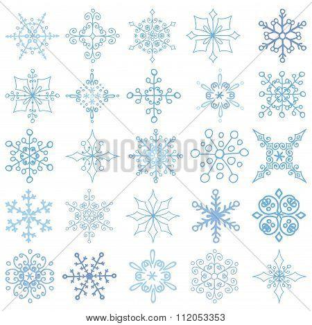Snowflakes big set.Christmas,New year,Wintershapes