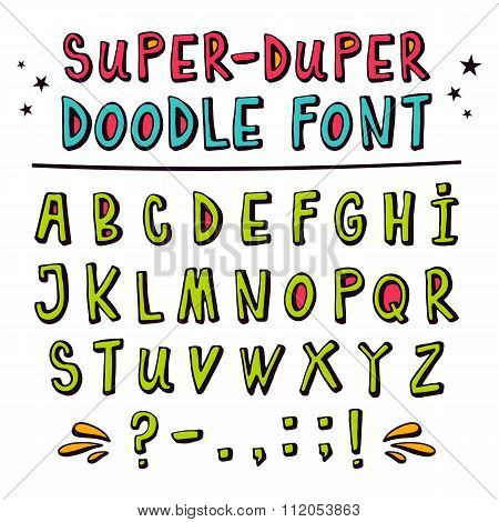 Doodle Vector Font With Funny 3D Effect