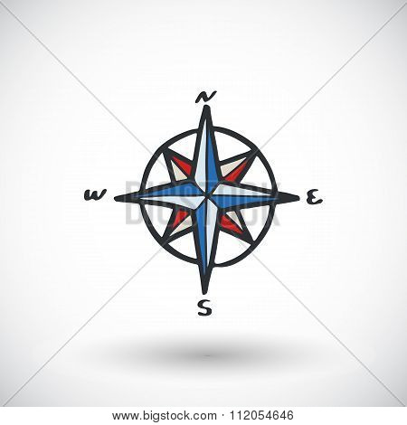 Wind rose sketch. Hand-drawn cartoon pirate or sea icon. Doodle drawing.