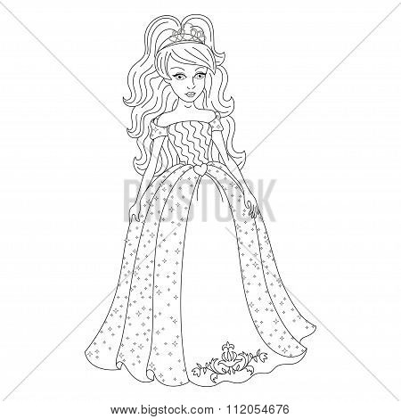 Magnificent princess in dress with spangles, coloring book