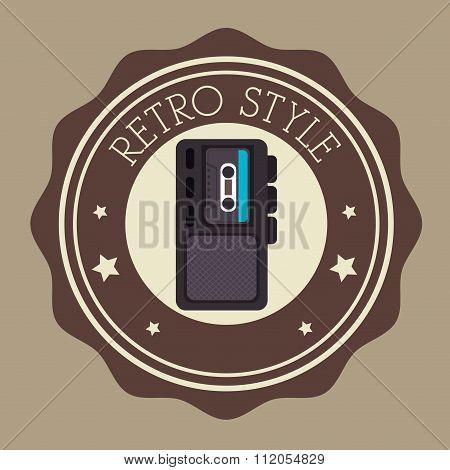 Recorder cassette retro label design