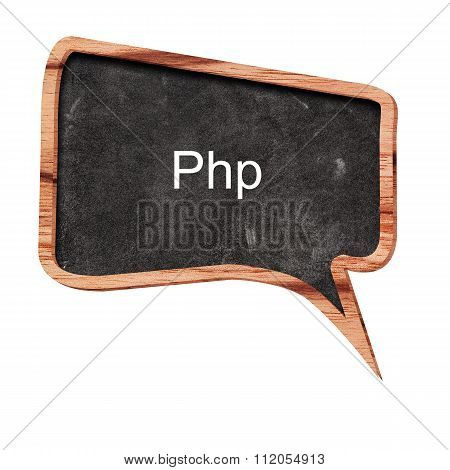 Php Word Concept On Speech Bubbles From Wood On White Background