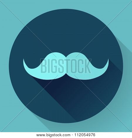 Facial hair mustache flat icon for apps and websites