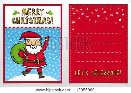 Funny Santa Claus Vector Christmas Greeting Card Design Template