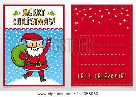 Funny Santa Claus Vector Christmas Greeting Card Design Template