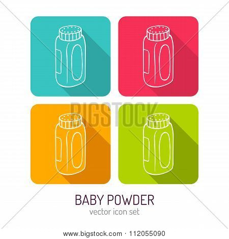 Vector Line Art Bottle Of Baby Powder Icon Set In Four Color Variations With Long Shadows
