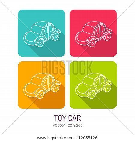 Vector Line Art Toy Car Icon Set In Four Color Variations With Long Shadows