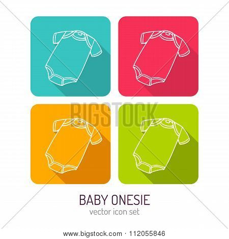 Vector Line Art Baby Onesie Icon Set In Four Color Variations With Long Shadows