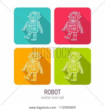 Vector Line Art Vintage Toy Robot Icon Set In Four Color Variations With Long Shadows