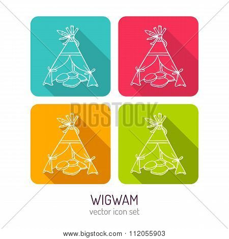 Vector Line Art Wigwam Icon Set In Four Color Variations With Long Shadows