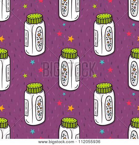 Vector Seamless Pattern With Baby Powder Bottle