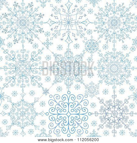Snowflakes lace seamless pattern.Christmas,New year,Winter