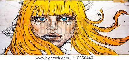 Moscow, Russia - 12 December 2015: Drawing Portrait Of A Beautiful Young Woman With Long Ginger Hair