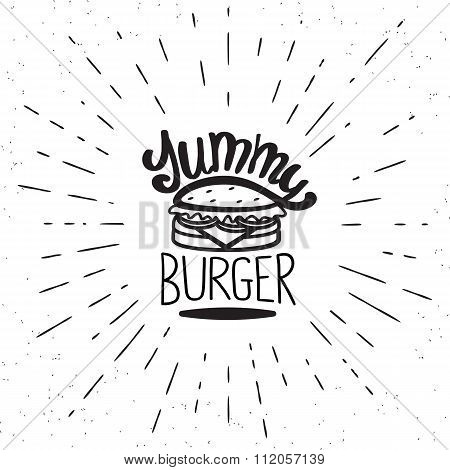 Yummy burger vintage label