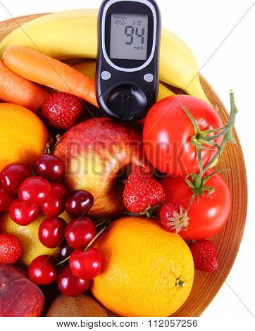 Glucose Meter With Fruits And Vegetables On Wooden Plate