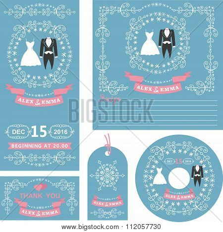 Wedding invitations set.Winter decor with dresses