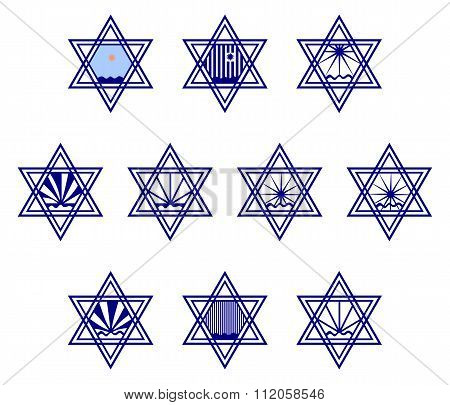 Character set containing symbols hexagram on the surface of the water and the sun or the rain