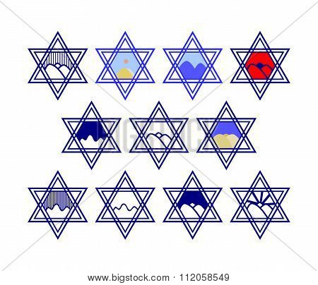 Set of characters comprising hexagram symbols and the silhouette of the hills