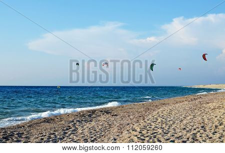 Kite surfing on the sea coast