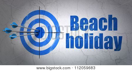 Vacation concept: target and Beach Holiday on wall background
