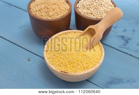 Millet And Buckwheat Groats, Rice On The Blue Board