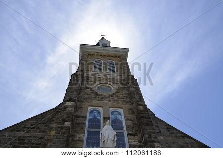 Church Steeple and Belfry made of stone and brick