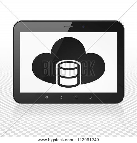 Programming concept: Tablet Computer with Database With Cloud on display