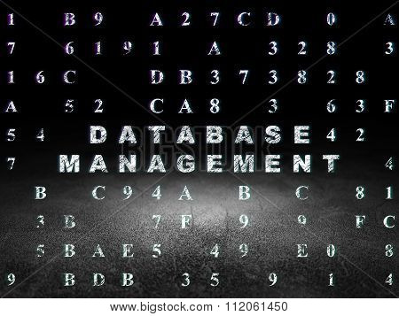 Software concept: Database Management in grunge dark room