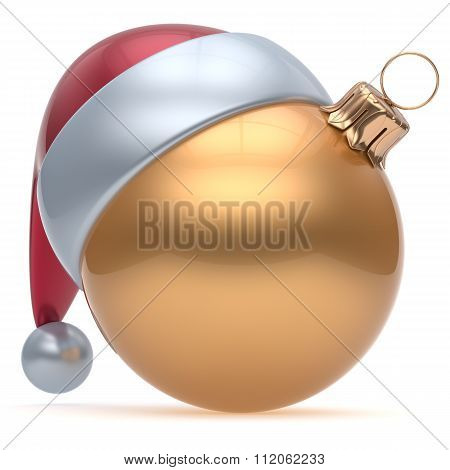 Christmas Ball Adornment Ornament Golden New Years Eve Icon