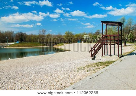 Lifeguard tower on Bundek lake in Zagreb, Croatia
