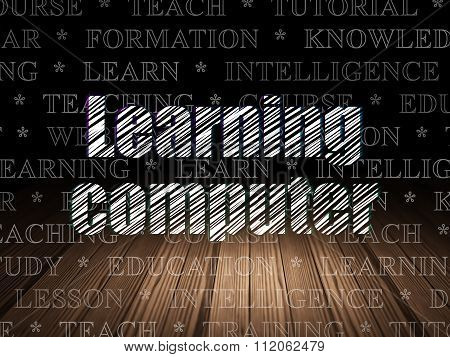 Learning concept: Learning Computer in grunge dark room