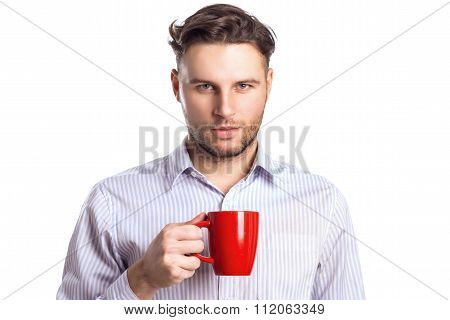 Handsome Businessman Holding Red Cup