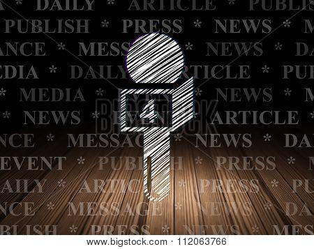 News concept: Microphone in grunge dark room