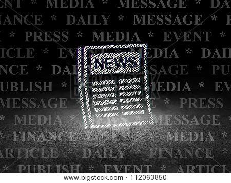 News concept: Newspaper in grunge dark room