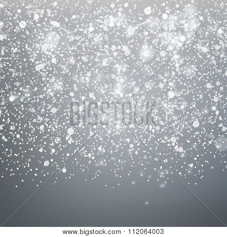 Falling snow on Grey sky background