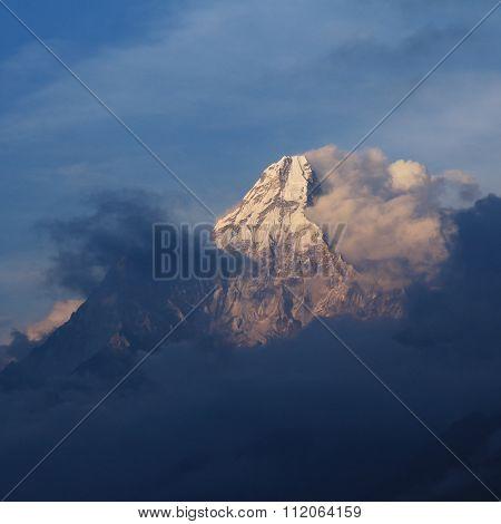 Peak Of Mt Ama Dablam At Sunset