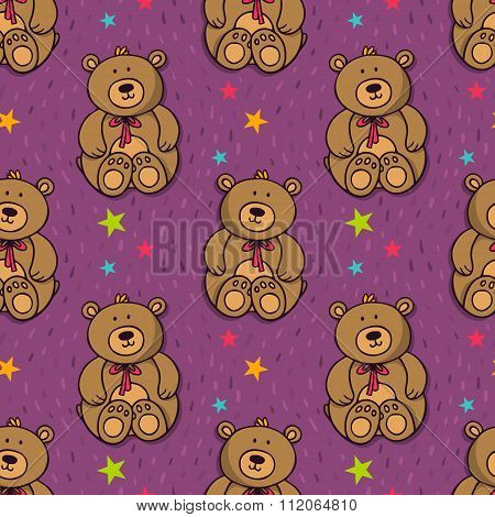 Vector Seamless Pattern With Cute Teddy Bear