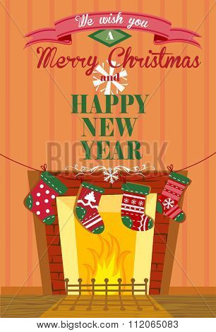 Cute Christmas greeting card with the socks hanging on a rope for banners and decorations.