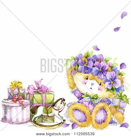 Cute teddy bear and flower violet background. Watercolor teddy bear.